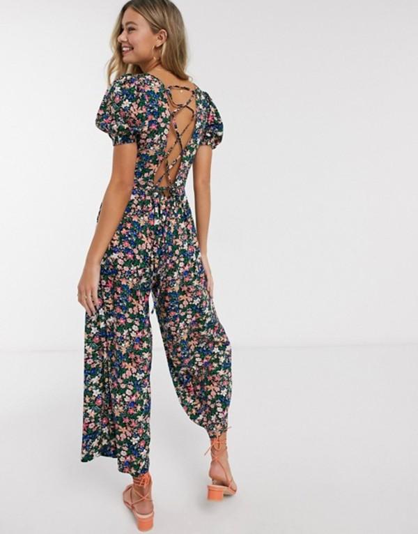 エイソス レディース ワンピース トップス ASOS DESIGN lace up back jumpsuit in ditsy floral print Ditsy floral