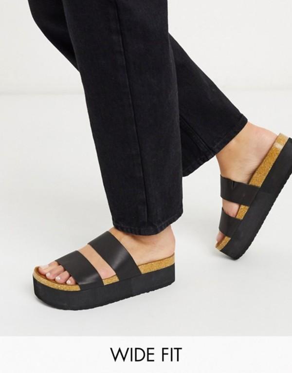 エイソス レディース サンダル シューズ ASOS DESIGN Wide Fit Fiery chunky double strap mule sandals in black Black