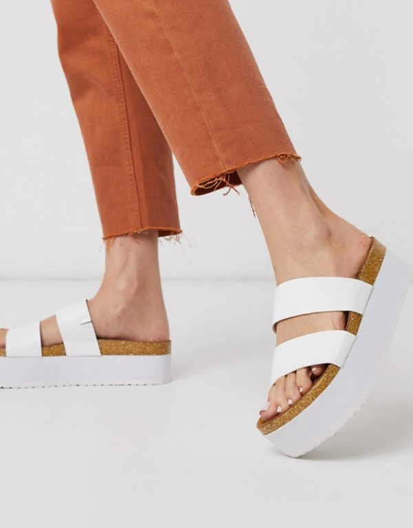 エイソス レディース サンダル シューズ ASOS DESIGN Fiery chunky double strap mule sandals in white White