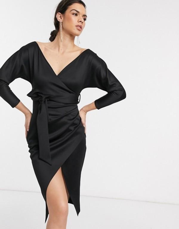 エイソス レディース ワンピース トップス ASOS DESIGN bardot wrap batwing sleeve midi dress with self tie belt in black Black