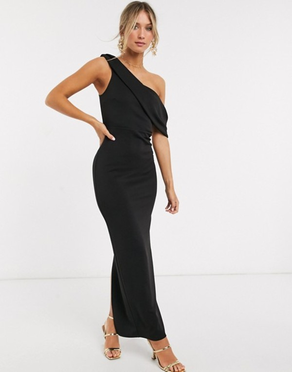 エイソス レディース ワンピース トップス ASOS DESIGN off shoulder structured maxi dress in black Black