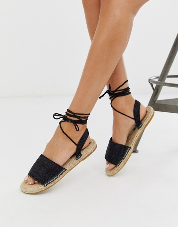 エイソス レディース サンダル シューズ ASOS DESIGN Josy woven espadrille flat sandals in black Black