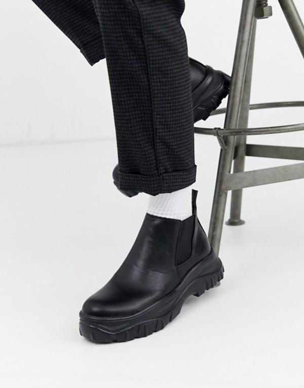 トリュフコレクション メンズ ブーツ・レインブーツ シューズ Truffle Collection chunky chelsea boot in black Black