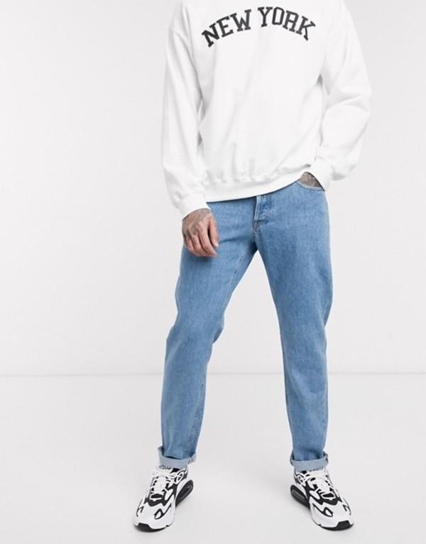 ジャック アンド ジョーンズ メンズ デニムパンツ ボトムス Jack & Jones Intelligence tapered fit jeans in vintage light wash Blue denim