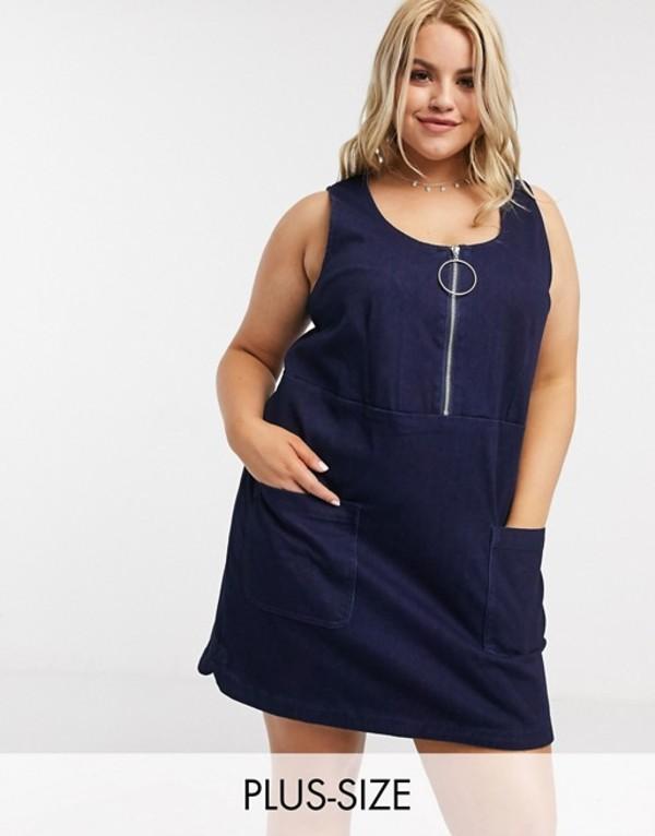 シンプリー ビー レディース ワンピース トップス Simply Be pinafore dress with ring zip detail Navy