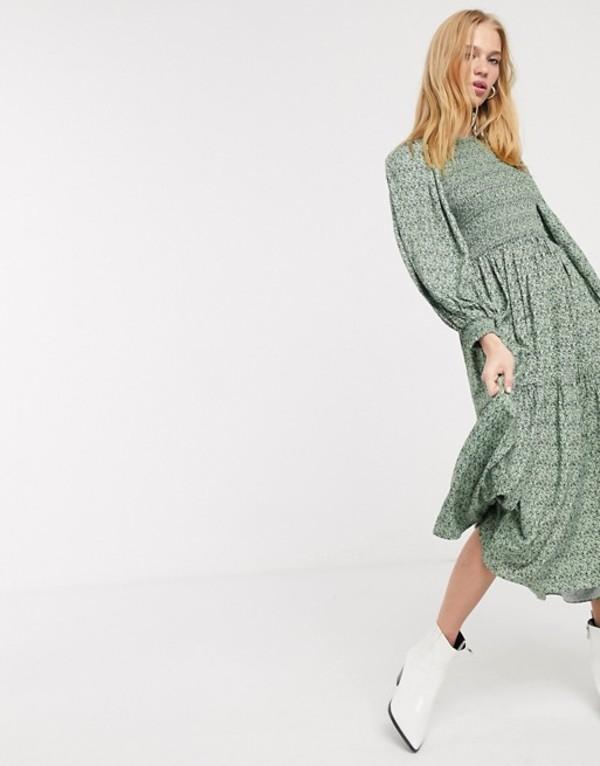 アンドアザーストーリーズ レディース ワンピース トップス & Other Stories ditsy floral smocked midi prairie dress in green Green