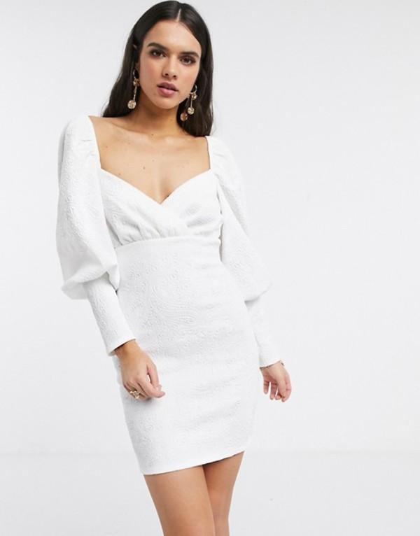 エイソス レディース ワンピース トップス ASOS DESIGN long sleeve puff sleeve embossed scuba mini dress Ivory