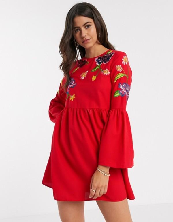 エイソス レディース ワンピース トップス ASOS DESIGN fluted sleeve embroidered smock mini dress in red Red