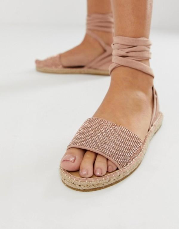 エイソス レディース サンダル シューズ ASOS DESIGN Jamila rhinestone tie leg espadrille sandals Rose gold