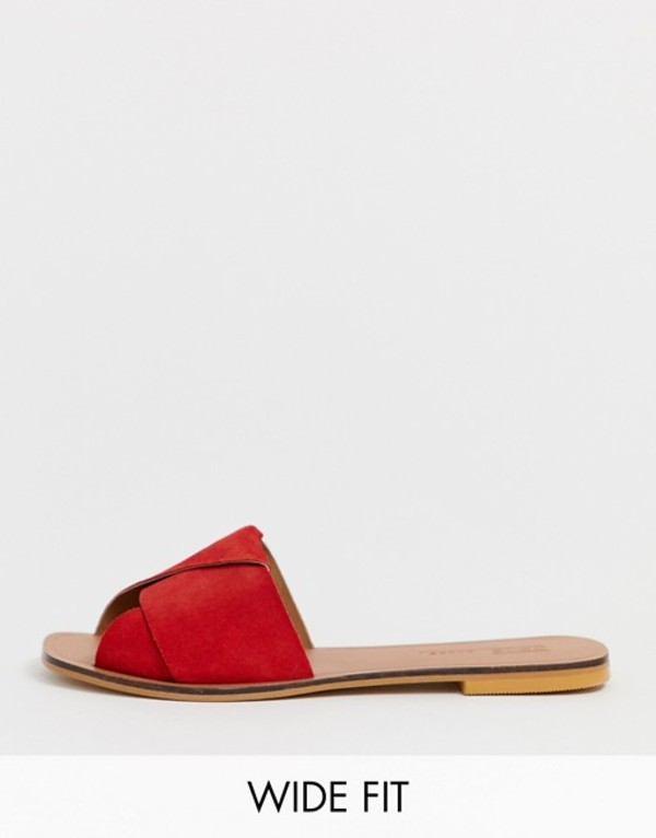 エイソス レディース サンダル シューズ ASOS DESIGN Wide Fit Favoured leather flat sandals Red suede