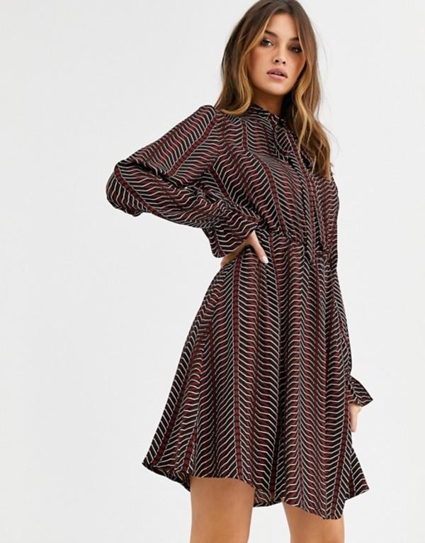 ヴェロモーダ レディース ワンピース トップス Vero Moda pussy bow geometric print mini dress Brown