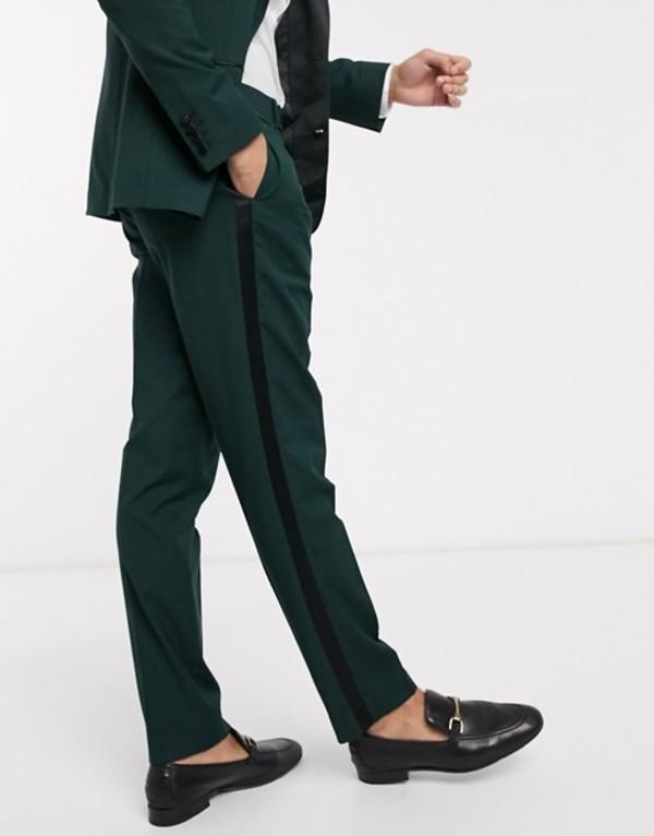 エイソス メンズ カジュアルパンツ ボトムス ASOS DESIGN wedding slim tuxedo suit pants in forest green Green