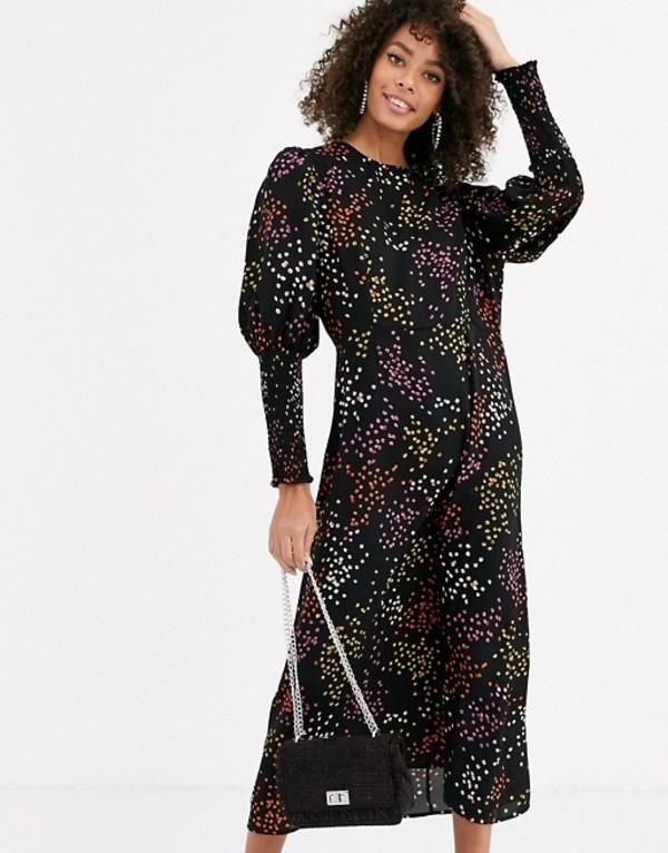 ネバーフリードレスド レディース ワンピース トップス Never Fully Dressed long shirred sleeve midi dress in contrast black polka dot Black multi