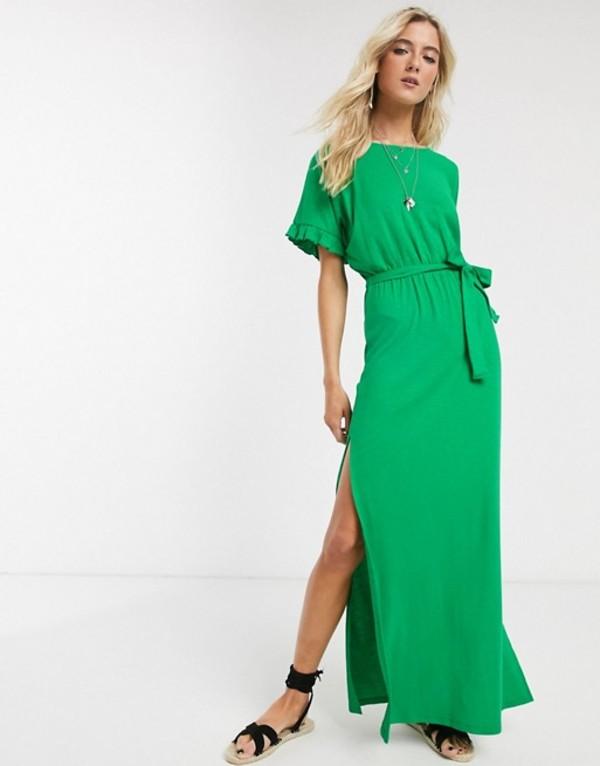 エイソス レディース ワンピース トップス ASOS DESIGN frill sleeve belted maxi dress in green Fern green