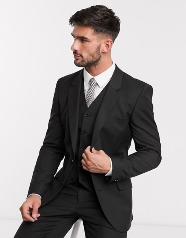 エイソス メンズ ジャケット・ブルゾン アウター ASOS DESIGN slim suit jacket in black Black