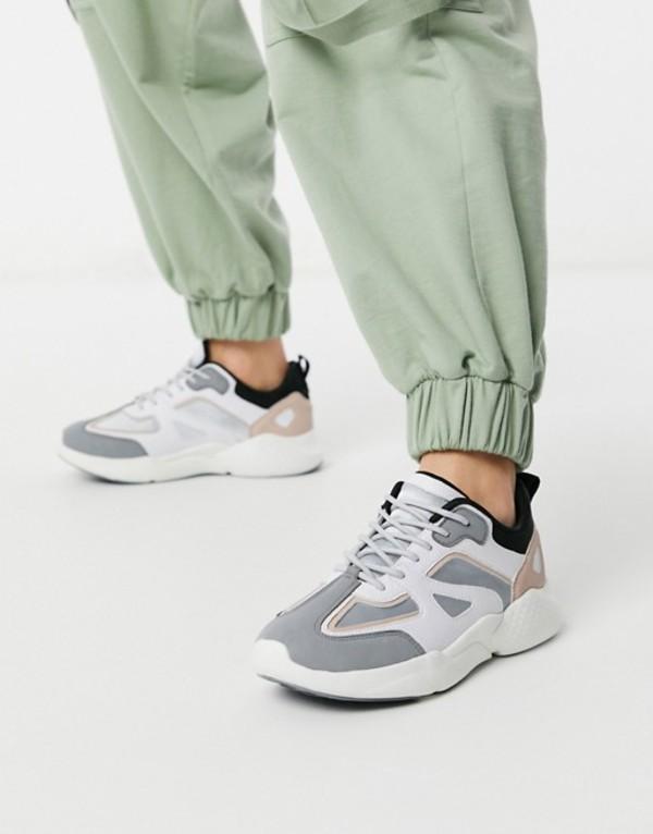 エイソス レディース スニーカー シューズ ASOS DESIGN Dominican chunky sneakers in gray peach and white Multi