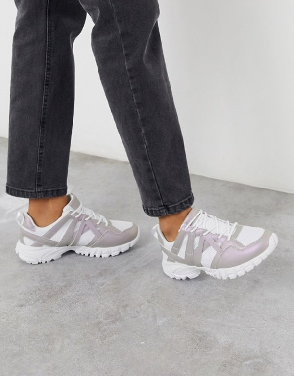 エイソス レディース スニーカー シューズ ASOS DESIGN Dance chunky sneakers in white White/pearlised