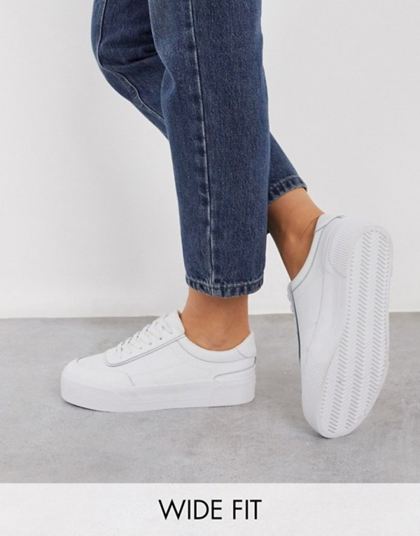 エイソス レディース スニーカー シューズ ASOS DESIGN Wide Fit Dynamic leather chunky sneakers in white White leather