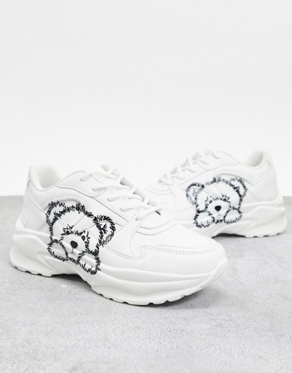 エイソス レディース スニーカー シューズ ASOS DESIGN Degree chunky sneakers with bear face in white White