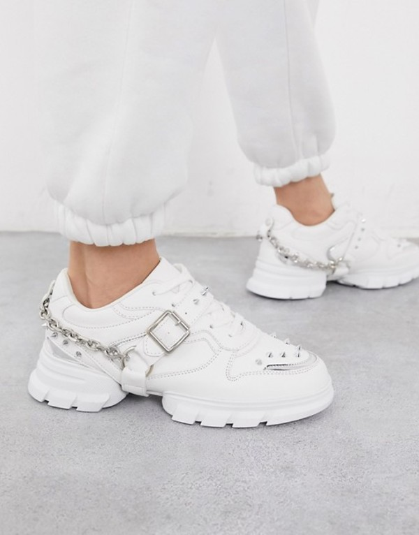 エイソス レディース スニーカー シューズ ASOS DESIGN Defiant chunky studded sneakers with chain in white White