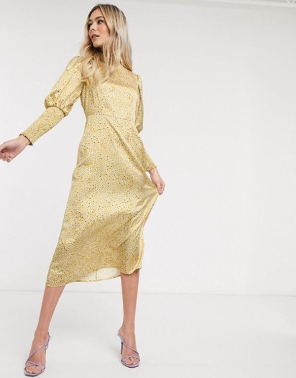 ネバーフリードレスド レディース ワンピース トップス Never Fully Dressed frill neck midaxi dress in yellow ditsy print Multi