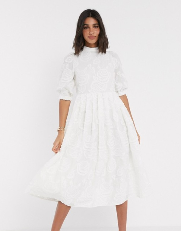 エイソス レディース ワンピース トップス ASOS DESIGN Premium broderie midi smock dress with lace up back in cream Cream