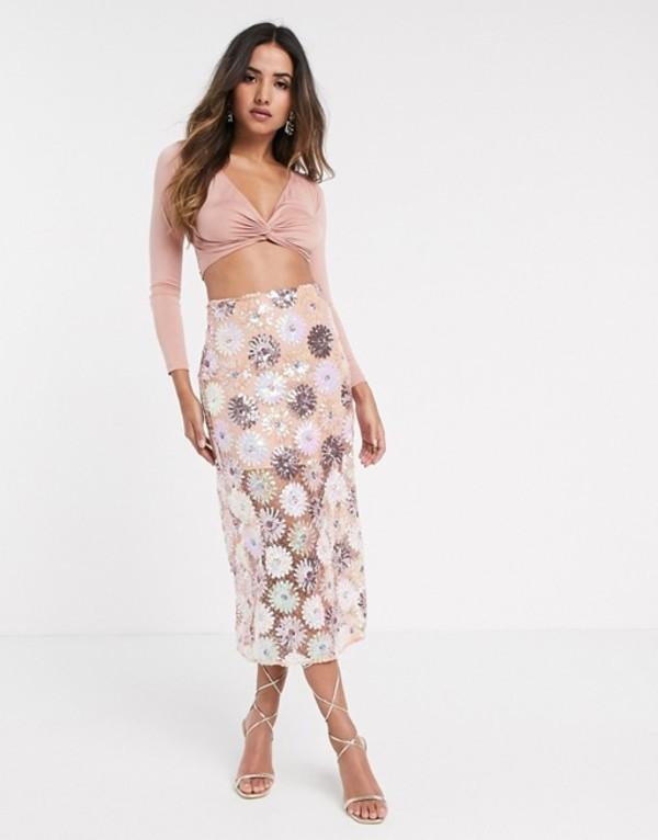 エイソス レディース スカート ボトムス ASOS DESIGN floral sequin midi skirt Multi