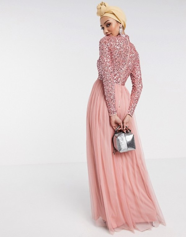 マヤ レディース ワンピース トップス Maya long sleeve maxi tulle dress with tonal delicate sequins in coral Pink