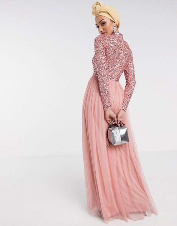 マヤ レディース ワンピース トップス Maya long sleeve maxi tulle dress with tonal delicate sequins in coral Pink