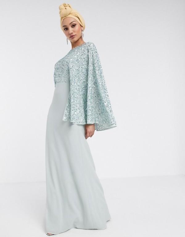 マヤ レディース ワンピース トップス Maya Bridesmaid allover contrast sequin cape maxi dress in blue Blue