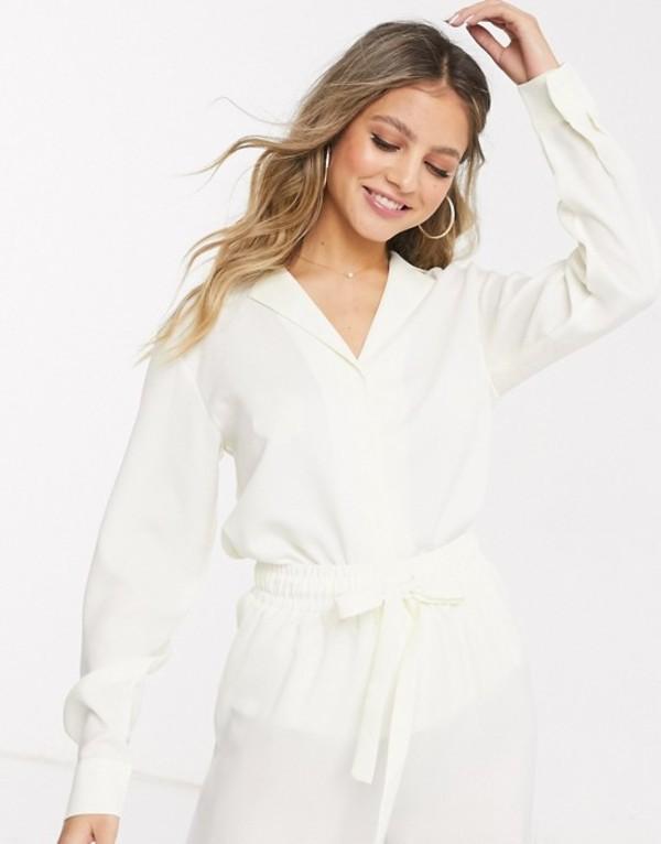 インザスタイル レディース シャツ トップス In The Style exclusive relaxed shirt in cream Cream