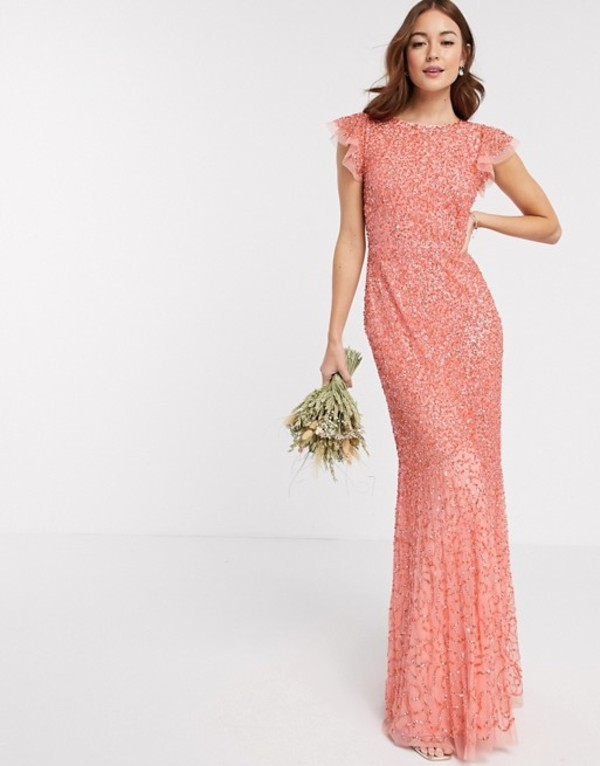マヤ レディース ワンピース トップス Maya Bridesmaid allover delicate sequin cap sleeve maxi dress in coral Coral