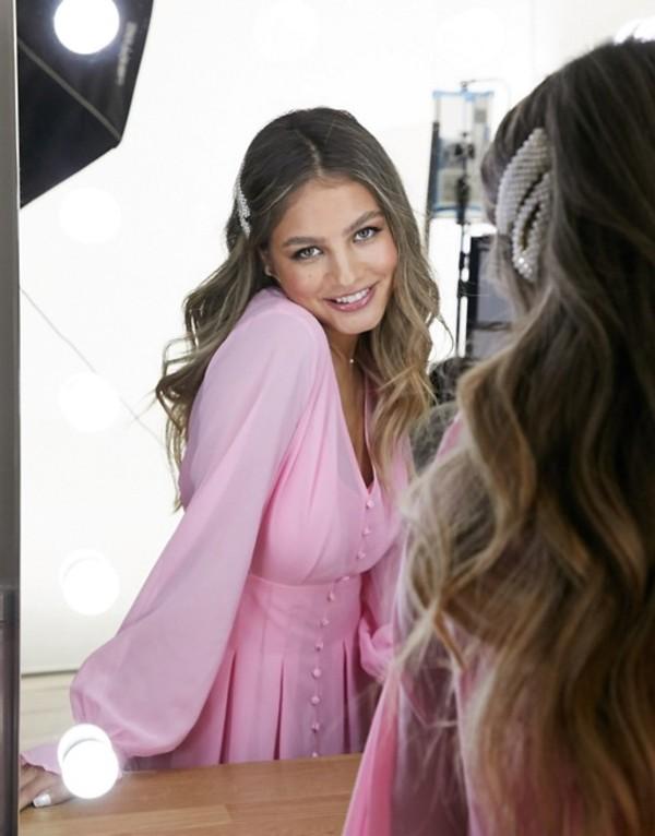 インザスタイル レディース ワンピース トップス In The Style exclusive button through mini skater tea dress in baby pink Pink