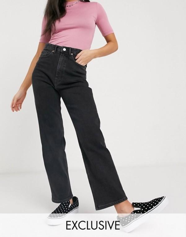 モンキ レディース デニムパンツ ボトムス Monki Zami organic cotton high waist straight leg jeans in washed black Black