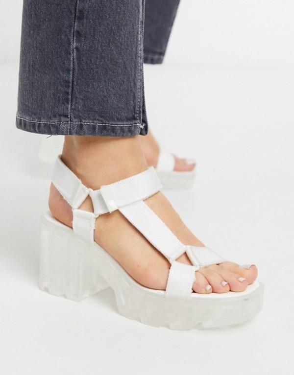 ストラディバリウス レディース サンダル シューズ Stradivarius track sandal in white with transparent sole White