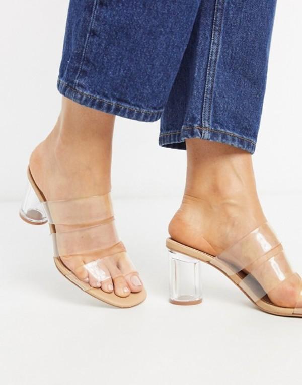 ストラディバリウス レディース サンダル シューズ Stradivarius vinyl heeled sandal Clear