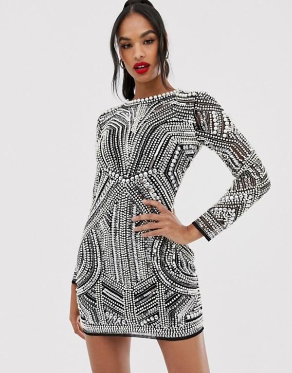エイソス レディース ワンピース トップス ASOS EDITION sequin and pearl mini bodycon dress with cut out back Black