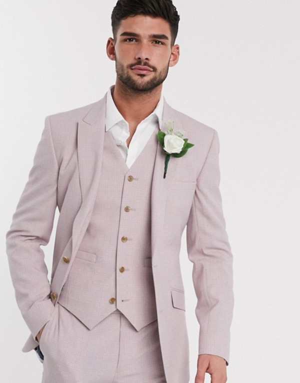 エイソス メンズ ジャケット・ブルゾン アウター ASOS DESIGN wedding skinny suit jacket in crosshatch in rose pink Pink