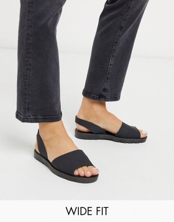 ロンドンレベル レディース サンダル シューズ London Rebel wide fit slingback jelly sandal in black Black