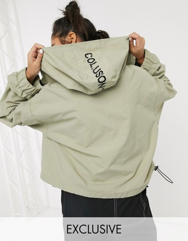 コルージョン レディース ジャケット・ブルゾン アウター COLLUSION cropped parka jacket in stone Stone