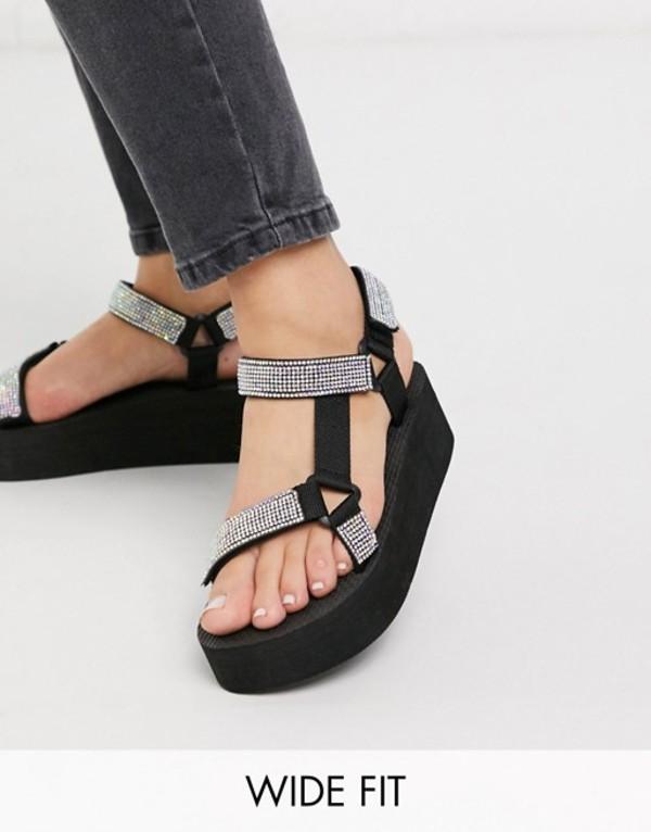 トリュフコレクション レディース サンダル シューズ Truffle Collection wide fit sporty embellished flatform sandals Black/irredescent