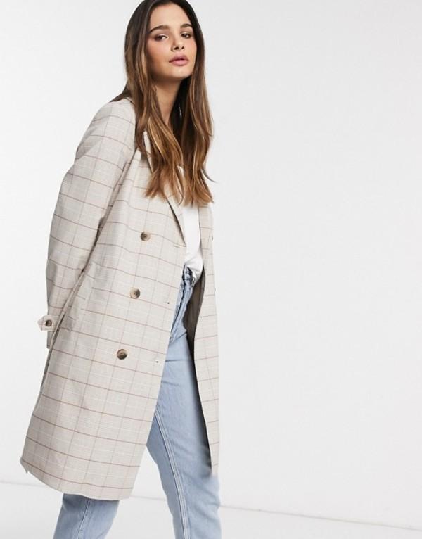 ヴィラ レディース コート アウター Vila trench coat in cream check Multi