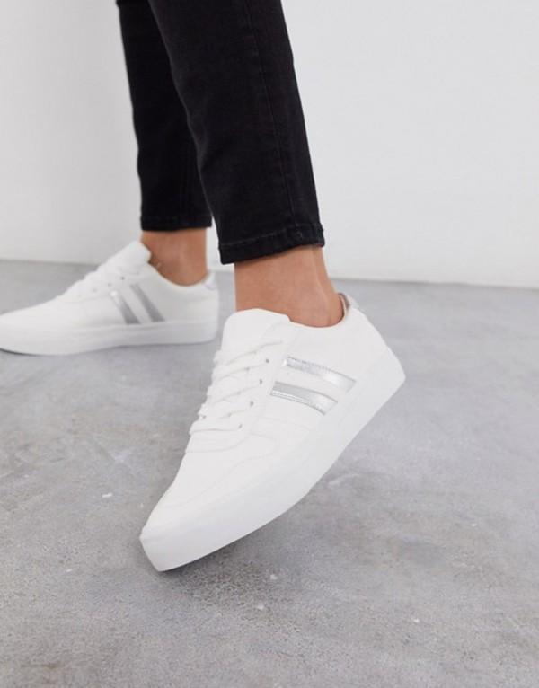 ロンドンレベル レディース スニーカー シューズ London Rebel lace up sneakers White/silver