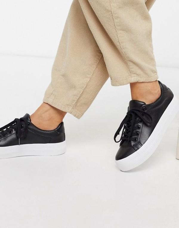 ロンドンレベル レディース スニーカー シューズ London Rebel flatform lace up sneaker in black Black