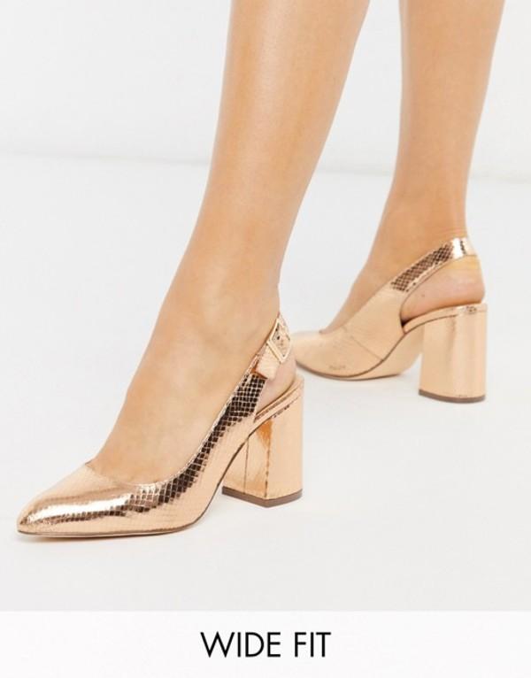 ロンドンレベル レディース ヒール シューズ London Rebel wide fit sling back block heel in rose gold Rose gold snake