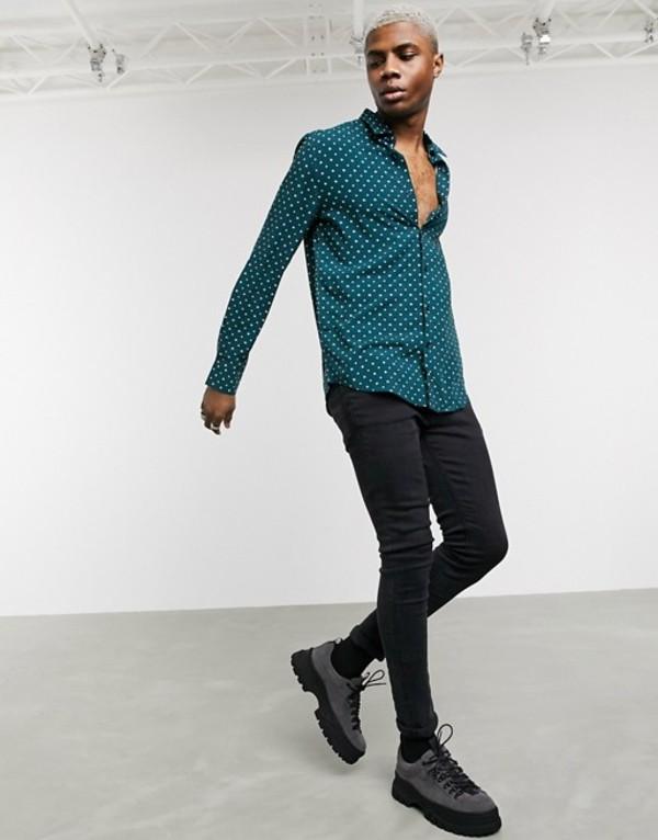 デビルズ アドボケート メンズ シャツ トップス Devils Advocate dot print slim fit shirt Green