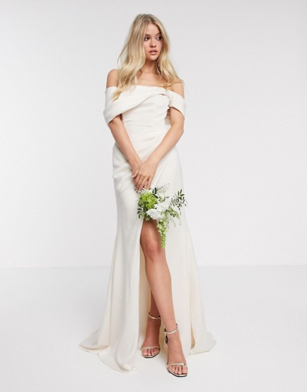 エイソス レディース ワンピース トップス ASOS EDITION bardot drape wrap wedding dress Soft apricot