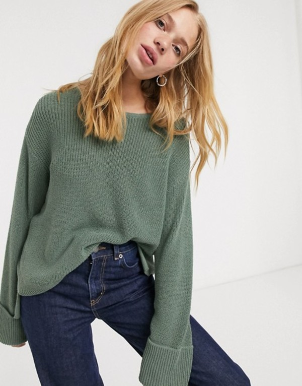 ウィークデイ レディース シャツ トップス Weekday Danna round neck sweater in dusty green Dusty green