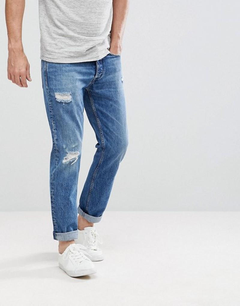 カルバンクライン メンズ デニムパンツ ボトムス Calvin Klein Jeans Tapered Rip and Repair Jeans Irving blue