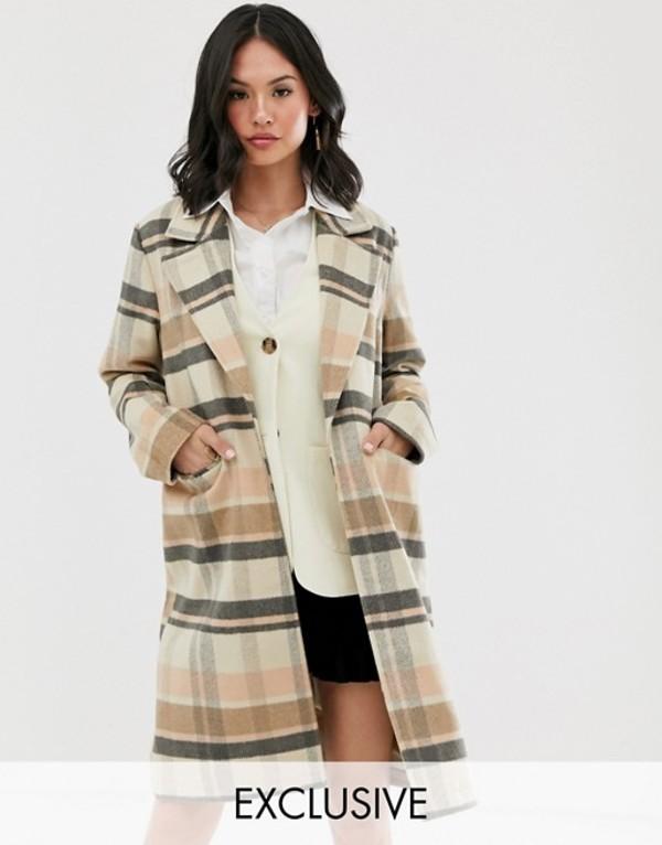 ウェンズデーガール レディース コート アウター Wednesday's Girl longline wool coat in check Brown check